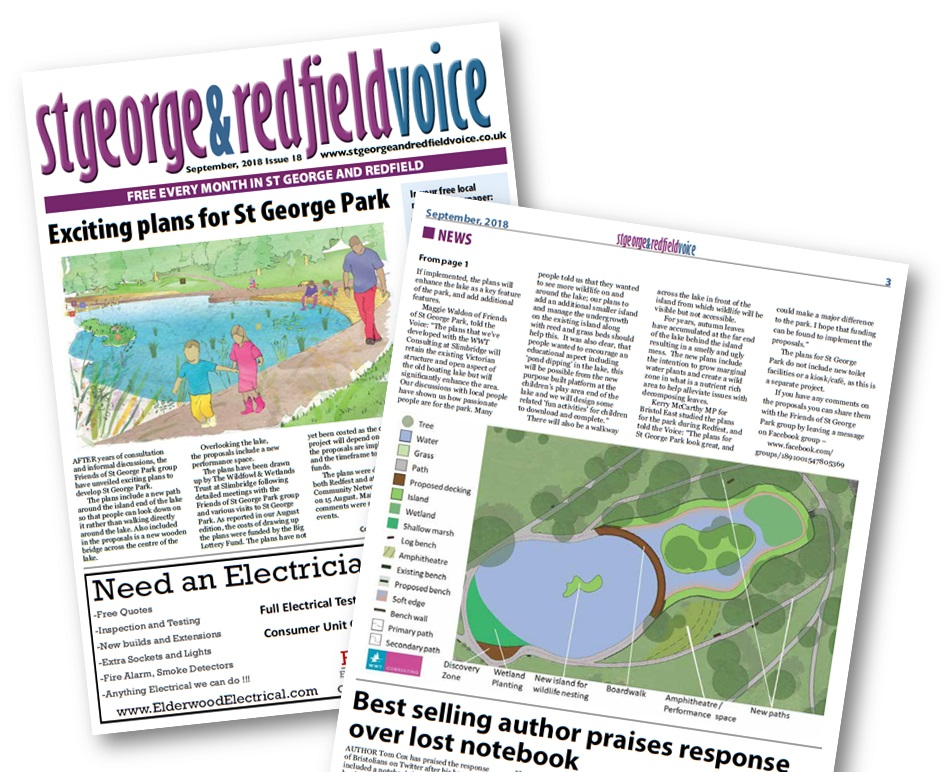 image of pages 1 and 3 of September 2018 edition of the St George & Redfield Voice