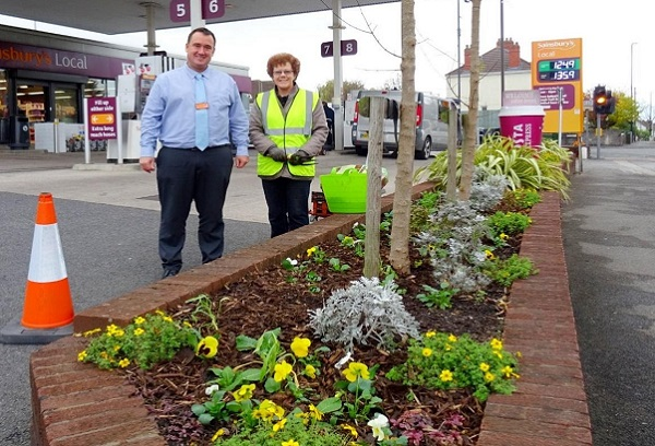 Blooms brighten shops and petrol station